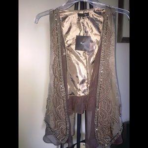 Boutique brown/taupe beaded vest